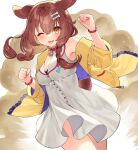 1girl animal_collar animal_ears armpit_crease ayame_(3103942) bare_shoulders blush bone_hair_ornament bone_print brown_hair buttons cartoon_bone clenched_hands collar commentary dog_ears dog_tail dress eyebrows_visible_through_hair hair_ornament highres hololive inugami_korone jacket long_sleeves off_shoulder one_eye_closed orange_eyes red_neckwear sleeveless sleeveless_dress solo tail tongue tongue_out yellow_jacket