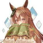 1girl animal_ears bangs blush braid brown_hair clouds commentary_request covering_mouth ear_ornament eyebrows_visible_through_hair frilled_sleeves frills grey_hair horse_ears kushibi long_hair long_sleeves looking_at_viewer multicolored_hair orange_eyes satono_diamond_(umamusume) sleeves_past_fingers sleeves_past_wrists solo two-tone_hair umamusume upper_body white_background