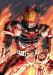 1boy another_rider_(zi-o) another_rider_faiz_(zi-o) armor black_armor black_background black_legwear black_skin burning clenched_teeth colored_skin creature driver fins fire gauntlets grimace head_fins kamen_rider kamen_rider_zi-o_(series) monster shinpei_(shimpay) teeth visor white_armor yellow_eyes