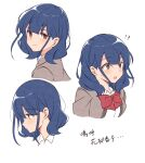 !? 1girl bangs blue_hair blunt_bangs blush bow bowtie breasts brown_hair closed_mouth collared_shirt commentary_request cropped_torso eyebrows_visible_through_hair from_side grey_jacket hair_behind_ear hair_between_eyes hanayagi_kaoruko highres jacket light_blush looking_at_viewer looking_away looking_to_the_side medium_breasts medium_hair multiple_views nukazuke_(kzhto) open_clothes open_jacket open_mouth portrait profile red_bow red_neckwear school_uniform seishou_music_academy_uniform shiny shiny_hair shirt shoujo_kageki_revue_starlight sidelocks simple_background smile surprised sweatdrop translation_request upper_body white_background white_shirt