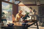 1boy architecture belt blonde_hair bonsai book bucket chinese_clothes day east_asian_architecture file_cabinet gloves gloves_removed highres noasa original plant potted_plant sack scenery scissors shears solo standing table utility_belt vase