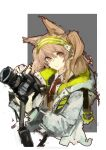 1girl absurdres amayouri animal_ears arknights brown_hair brown_vest camera chinese_commentary collar collared_shirt commentary_request cosplay cropped_torso dslr earpiece extra_ears fox_ears frown green_hairband grey_background hair_between_eyes hairband highres holding holding_camera jacket long_hair looking_at_viewer necktie open_clothes open_jacket red_eyes red_neckwear scene_(arknights) scene_(arknights)_(cosplay) shirt simple_background sketch solo striped striped_hairband twintails two-tone_background upper_body vest weibo_username white_background white_collar white_jacket