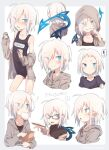 ! 1girl :d ahoge bag bare_shoulders black-framed_eyewear black_swimsuit blue_eyes blue_nails blush closed_mouth dumpling fingernails flat_chest food glasses grey_hoodie grin hair_over_one_eye heterochromia higashi_shino highres holding holding_bag holding_pencil hood hood_down hood_up hoodie long_sleeves looking_at_viewer medium_hair mouth_hold multiple_views musical_note nail_polish name_tag nowareno_(higashi_shino) off_shoulder one-piece_swimsuit one_eye_covered open_mouth original parted_lips pencil pointy_ears ponytail smile spoken_exclamation_mark spoken_number sweat swimsuit tail white_hair