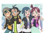 2boys 2girls ahoge alternate_costume alternate_hairstyle antenna_hair aqua_skirt ash_ketchum beanie black_hair black_jacket blue_background blue_eyes blue_hair brown_eyes chloe_(pokemon) dawn_(pokemon) english_commentary flechuzita flower goh_(pokemon) green_eyes grey_headwear grin hair_flower hair_ornament hairclip hand_on_another's_shoulder hand_on_hip happy hat highres hood hoodie jacket jewelry long_hair multicolored multicolored_clothes multicolored_hair multiple_boys multiple_girls open_mouth pendant pentagon_(shape) pentagon_bubbles pikachu_print pokemon pokemon_(anime) pokemon_(creature) pokemon_(game) pokemon_bdsp pokemon_print pokemon_swsh_(anime) ponytail purple_hair purple_jacket scrunchie short_hair short_twintails signature skirt smile spiky_hair striped_sleeves studded_jacket tagme twintails two-tone_background two-tone_hair zipper