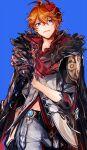 1boy ayano_(katou) bangs black_gloves blue_background blue_eyes coat coat_on_shoulders earrings fur_trim genshin_impact gloves hair_between_eyes highres jacket jewelry looking_at_viewer male_focus mask mask_on_head orange_hair pants parted_lips red_scarf scarf simple_background single_earring solo tartaglia_(genshin_impact) vision_(genshin_impact)