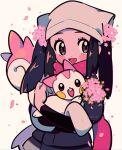 1girl :d akari_(pokemon) alternate_color black_hair black_undershirt blush_stickers chueog eyelashes flower grey_eyes grey_jacket head_scarf highres holding holding_pokemon jacket long_hair open_mouth pachirisu petals pink_flower pink_scarf pokemon pokemon_(creature) pokemon_(game) pokemon_legends:_arceus ponytail scarf shiny_pokemon smile symbol-only_commentary tongue twitter_username watermark white_headwear
