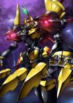 cable claws clouds cloudy_sky code_geass flying gamiani_zero gawain_(code_geass) glowing glowing_eyes head_tilt highres knightmare_frame looking_up mecha no_humans red_eyes science_fiction sky solo
