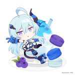 1girl :o bangs black_legwear blue_eyes blue_gloves blue_hair blueberry chibi fang food fruit full_body gloves hair_between_eyes honkai_(series) honkai_impact_3rd horns ice_cream jin2 liliya_olenyeva long_hair looking_at_viewer looking_back macaron one_eye_closed open_mouth plate simple_background single_horn smile solo tail thick_eyebrows thigh-highs v white_background