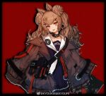 1girl absurdres amayouri angelina_(arknights) animal_ears arknights black_collar blue_dress brown_jacket chinese_commentary collar commentary_request cosplay double_bun dress fox_ears gummy_(arknights) gummy_(arknights)_(cosplay) hair_ornament hairclip highres infection_monitor_(arknights) jacket long_hair looking_at_viewer neckerchief open_clothes open_jacket open_mouth pin red_background red_eyes sailor_collar sailor_dress simple_background solo upper_body white_neckwear white_sailor_collar