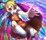 1girl absurdres animal_ear_fluff animal_ears bangs belt black_neckwear black_ribbon blonde_hair blush brown_belt brown_footwear brown_skirt brown_vest collared_shirt commentary_request cookie_(touhou) fangs foot_out_of_frame fox_ears fox_girl highres incoming_attack incoming_punch looking_down miramikaru_riran multicolored multicolored_background neck_ribbon niwarhythm open_mouth punching red_eyes ribbon shirt shoes short_hair short_sleeves skirt socks solo vest white_legwear white_shirt
