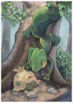 border closed_eyes commentary_request day highres kikuyoshi_(tracco) leaf no_humans open_mouth outdoors pokemon pokemon_(creature) shroomish signature smile tree treecko white_border
