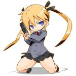 1girl blonde_hair blue_eyes chibi closed_mouth gun hair_ribbon karukan_(monjya) kill_me_baby long_hair looking_at_viewer necktie ribbon school_uniform simple_background skirt solo sonya_(kill_me_baby) twintails weapon white_background