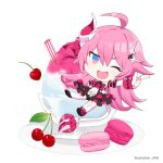 1girl :d bangs blue_eyes cherry chibi fang food fruit full_body gloves hair_between_eyes honkai_(series) honkai_impact_3rd horns ice_cream index_finger_raised jin2 long_hair looking_at_viewer looking_back macaron one_eye_closed open_mouth pink_hair plate rozaliya_olenyeva simple_background single_horn smile solo tail thick_eyebrows thigh-highs white_background white_gloves white_legwear