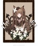 1girl absurdres amayouri angelina_(arknights) animal_ears arknights brown_collar brown_dress brown_eyes brown_hair brown_headwear chinese_commentary collar commentary_request cosplay dress flower fox_ears hair_flower hair_ornament hat highres long_hair looking_at_viewer nightmare_(arknights) nightmare_(arknights)_(cosplay) smile solo twintails upper_body white_flower