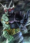 1boy another_double_(zi-o) another_rider_(zi-o) armor asymmetrical_armor black_armor clenched_teeth compound_eyes creature driver evil extra_eyes green_armor helmet horns kamen_rider kamen_rider_zi-o_(series) long_fingers monster multiple_horns namesake pointing shinpei_(shimpay) shoulder_spikes spiked_gauntlets spikes stitches teeth tornado wind