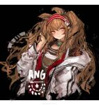 1girl absurdres amayouri angelina_(arknights) animal_ears arknights black_collar black_shirt brown_eyes collar commentary cropped_torso earpiece fox_ears hairband hand_up highres infection_monitor_(arknights) jacket letterboxed long_hair looking_at_viewer open_clothes open_jacket red_hairband shirt simple_background sketch smile solo striped striped_hairband symbol-only_commentary twintails upper_body white_background white_jacket