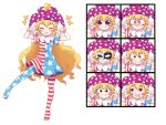 +++ 1girl :3 american_flag_dress american_flag_legwear bangs black_eyes blonde_hair blush_stickers closed_eyes clownpiece double_v expressions eyebrows_visible_through_hair fairy_wings hair_between_eyes hat jester_cap joyfull_(terrace) long_hair mask neck_ruff open_mouth pantyhose polka_dot short_sleeves simple_background solo tongue tongue_out touhou v white_background wings