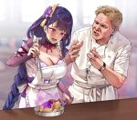 1boy 1girl @_@ apron bangs blonde_hair blunt_bangs blurry blurry_background braid braided_ponytail breasts bridal_gauntlets chef_uniform commentary electricity english_commentary eyebrows_visible_through_hair food foxyreine frilled_apron frills frying_pan genshin_impact gordon_ramsay hair_ornament hand_up hands_up hell's_kitchen highres holding indoors ladle large_breasts long_hair mole mole_under_eye neck_ribbon obi open_mouth parted_lips purple_hair raiden_shogun raised_eyebrows real_life ribbon sash short_hair spoon tearing_up violet_eyes watch watch white_apron window wrinkled_skin