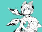 1girl bags_under_eyes blue_theme bow breasts bright_pupils cirno closed_mouth ears_visible_through_hair eyebrows_visible_through_hair hair_bow hand_on_hip hatching_(texture) ice ice_wings linear_hatching massakasama medium_breasts monochrome sanpaku see-through_shirt short_hair short_sleeves sideways_glance simple_background smirk solo touhou uneven_eyes wings