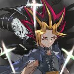 2boys black_shirt blue_cape bright_pupils cape chain character_request check_character closed_mouth dark_magician duel_monster jewelry kdm_(ke_dama) millennium_puzzle multicolored_hair multiple_boys necklace pointy_hair red_eyes sanpaku shirt spiky_hair white_pupils yami_yuugi yu-gi-oh!