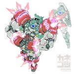 adele_(gundam_age) artist_name clenched_hands crossed_arms email_address energy extra_arms full_body fusion glowing glowing_eyes gundam gundam_age gundam_age-1 gundam_age-1_titus highres kaneko_tsukasa mecha mobile_suit muscular no_humans pose projected_inset signature simple_background white_background