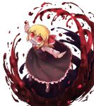 1girl ambiguous_red_liquid ascot blonde_hair bobby_socks dress eyebrows_visible_through_hair fang frilled_dress frills hair_between_eyes hair_ribbon highres joyfull_(terrace) long_sleeves looking_at_viewer looking_up mary_janes open_mouth red_eyes red_neckwear red_ribbon ribbon rumia shoes short_hair simple_background socks solo t-pose touhou white_background white_sleeves