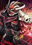 1boy @_@ absurdres another_rider_(zi-o) another_wizard_(zi-o) armor cape clenched_hand compound_eyes creature crest driver energy evil halo head_fins helmet highres jewelry kamen_rider kamen_rider_zi-o_(series) long_coat magic monster multiple_rings pauldrons red_armor red_cape red_theme ring shinpei_(shimpay) shoulder_armor skeletal_hand skull wizard
