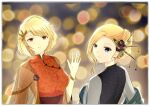 2girls azur_lane blonde_hair bracelet china_dress chinese_clothes dress hair_ornament hood_(azur_lane) jewelry lantern multiple_girls prince_of_wales_(azur_lane) upper_body walldeniee waving