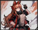 1girl amayouri angelina_(arknights) animal_ears arknights black_gloves black_jacket black_scarf black_skirt brown_eyes brown_hair chinese_commentary commentary_request cosplay demon_horns detonator fingerless_gloves fox_ears gloves grey_shirt highres holding_remote_control horns jacket long_hair looking_at_viewer open_clothes open_jacket red_nails scarf shirt shoulder_strap skirt smile solo very_long_hair w_(arknights) w_(arknights)_(cosplay)
