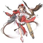 1girl aircraft apron baizu_(guszx) bangs bird black_surge_night blush breasts brown_hair flight_deck frills full_body hair_flaps hair_ribbon hawk hiyou_(black_surge_night) holding holding_tray japanese_clothes large_breasts long_hair low_twintails maid_headdress multicolored_hair official_art open_mouth red_eyes ribbon rigging striped striped_ribbon tray twintails very_long_hair wa_maid white_apron white_hair wide_sleeves
