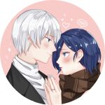 1boy 1girl bangs black_jacket blue_eyes blue_hair blue_nails blush brown_background brown_scarf commentary_request couple from_side g4265059 grey_hair grey_sweater heart highres holding_hands jacket jewelry kaneki_ken kirishima_touka looking_at_another palms_together profile red_lips ring scarf shiny shiny_hair short_hair spoken_blush sweater tokyo_ghoul tokyo_ghoul:re white_background