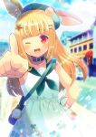 1girl ;d animal_ear_fluff bag bangs beret blonde_hair blunt_bangs blurry blurry_background commentary_request depth_of_field dress ears_through_headwear eyebrows_visible_through_hair green_headwear green_neckwear green_sailor_collar hair_ornament hat kou_hiyoyo long_hair looking_at_viewer neckerchief one_eye_closed open_mouth original outstretched_arm pocket_watch pointing pointing_at_viewer red_eyes sailor_collar shoulder_bag sleeveless sleeveless_dress smile solo star_(symbol) star_hair_ornament very_long_hair watch white_dress