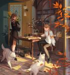 2girls absurdres armband autumn black_footwear black_gloves black_pants blue_eyes book book_stack braid cabinet chair dog flower gloves highres holding holding_flower huge_filesize indoors lamp long_hair long_sleeves multiple_girls noasa original pants plant potted_plant scenery sitting table twintails wooden_floor