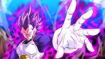 1boy armor aura blurry blurry_background dragon_ball dragon_ball_super gloves incoming_attack male_focus no_eyebrows open_hand purple_hair rom_(20) serious solo spiky_hair transformation ultra_ego_(dbs) upper_body vegeta white_gloves