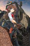1girl :o absurdres assault_rifle bangs black_footwear black_gloves blue_eyes blue_skirt blue_sky body_armor boots bow bowtie brick_wall brown_hair brown_legwear camouflage carrying commentary_request dress_shirt eyebrows_visible_through_hair gloves gun hair_ribbon hand_on_own_arm handgun highres holding holding_gun holding_weapon knee_up long_hair looking_at_viewer maz-543 mikeran_(mikelan) military miniskirt original outdoors pantyhose parted_lips pink_sky pleated_skirt red_neckwear red_ribbon ribbon rifle school_uniform scope shadow shirt sitting skirt sky sleeves_rolled_up solo twilight weapon weapon_on_back white_shirt