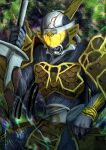 1boy another_gaim_(zi-o) another_rider_(zi-o) armor clenched_teeth creature demon evil fangs forest glowing glowing_eyes helmet holding holding_sword holding_weapon horns japanese_armor japanese_clothes kamen_rider kamen_rider_zi-o_(series) knife looking_at_viewer monster nature oni orange_armor orange_horns samurai shinpei_(shimpay) single_horn sword teeth visor weapon