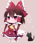 ... 1girl ascot bangs black_cat bow brown_background brown_hair cat closed_mouth detached_sleeves eyebrows_visible_through_hair full_body hair_bow hair_tubes hakurei_reimu highres looking_at_viewer medium_hair nontraditional_miko paw_print red_bow red_eyes red_footwear red_shirt red_skirt ribbon-trimmed_sleeves ribbon_trim shirt sidelocks simple_background skirt spoken_ellipsis standing sweatdrop touhou white_legwear wide_sleeves yellow_neckwear you_(noanoamoemoe)