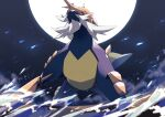 :< blurry closed_mouth commentary_request from_below highres kura_(shironagasu02) no_humans pokemon pokemon_(creature) red_eyes samurott solo standing water