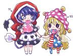 2girls american_flag_dress american_flag_legwear arm_up arrow_(symbol) bangs bare_shoulders black_dress black_eyes blonde_hair blue_dress blue_pants blush candy closed_mouth clownpiece doremy_sweet dress eating eyebrows_visible_through_hair fairy_wings food full_body hair_between_eyes hand_up hands_up hat jester_cap lana151 lollipop long_hair looking_at_another looking_away multicolored multicolored_clothes multicolored_dress multicolored_eyes multicolored_pants multiple_girls no_shoes numbered off-shoulder_dress off_shoulder pants pink_eyes pink_headwear polka_dot pom_pom_(clothes) purple_hair red_dress red_headwear red_pants short_hair short_sleeves simple_background smile socks standing star_(symbol) star_print striped striped_dress striped_pants tail touhou very_long_hair very_short_hair violet_eyes wavy_hair white_background white_dress white_eyes white_legwear white_pants wings