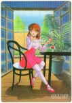 1980s_(style) 1girl absurdres anice_farm bangs brown_eyes brown_hair character_name chouon_senshi_borgman copyright_name day earrings eating food fruit full_body high-waist_skirt highres holding holding_food jewelry kikuchi_michitaka licking_lips long_hair long_sleeves official_art on_chair pink_footwear pink_skirt retro_artstyle scan shirt sitting skirt solo strawberry striped striped_legwear striped_shirt table tongue tongue_out wooden_floor