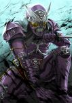 1boy another_rider_(zi-o) another_shinobi_(zi-o) armor clenched_teeth compound_eyes creature evil helmet kamen_rider kamen_rider_zi-o_(series) katana mask monster ninja on_ground purple_armor shinpei_(shimpay) skull skull_and_crossbones skull_mask sword teeth weapon yellow_eyes
