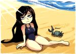 1girl bare_shoulders beach black_hair blue_eyes breasts castlevania castlevania:_order_of_ecclesia crab eyebrows_visible_through_hair gothic long_hair looking_at_viewer one-piece_swimsuit school_swimsuit setz shanoa simple_background solo swimsuit