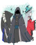 1boy 2girls alternate_costume arknights black_coat black_dress coat doctor_(arknights) dress highres hood hood_up multiple_girls nun omo_(h98013114) red_dress resized skadi_(arknights) skadi_the_corrupting_heart_(arknights) specter_(arknights) upscaled waifu2x