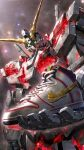 glowing glowing_eyes green_eyes gundam gundam_unicorn highres holding holding_clothes holding_footwear looking_down mecha mobile_suit nike no_humans nt-d official_art science_fiction shoes sneakers solo space unicorn_gundam upper_body v-fin