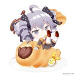 1girl antenna_hair bangs bow bowtie bronya_zaychik bronya_zaychik_(wolf's_dawn) brown_jacket chibi closed_mouth drill_hair earrings food full_body grey_eyes grey_hair hair_between_eyes homu_(honkai_impact) honkai_(series) honkai_impact_3rd jacket jewelry jin2 long_sleeves looking_at_viewer plate red_footwear shoe_soles shoes simple_background solo twin_drills white_background yellow_neckwear