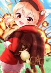 1girl :d absurdres ahoge backpack bag bag_charm bangs bloomers blue_sky blurry brown_footwear brown_gloves brown_scarf cabbie_hat charm_(object) clouds cloudy_sky clover_print coat commentary_request depth_of_field dodoco_(genshin_impact) explosion eyebrows_visible_through_hair from_behind genshin_impact gloves grass hair_between_eyes hat hat_feather hat_ornament head_tilt highres hooded_coat ichigo_mushi klee_(genshin_impact) light_brown_hair long_hair long_sleeves looking_at_viewer looking_back low_twintails open_mouth orange_eyes pocket pointy_ears randoseru red_coat scarf sidelocks sky smile solo standing standing_on_one_leg twintails underwear vision_(genshin_impact)