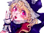 1girl :d adapted_costume alternate_costume bangs blonde_hair blush bow bowtie commentary_request dress eyebrows_visible_through_hair flandre_scarlet frills hair_between_eyes hand_up hat hat_bow highres looking_at_viewer mob_cap nail_polish one_side_up open_mouth purple_bow purple_neckwear purple_ribbon red_dress red_eyes red_nails ribbon short_hair simple_background smile solo touhou upper_body white_background white_headwear wrist_cuffs yuki_abeno