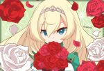 1girl absurdres bangs blonde_hair blue_eyes character_name flower hair_between_eyes highres kantai_collection long_hair looking_at_viewer petals pista_land red_flower rose signature simple_background solo tiara upper_body victorious_(kancolle) white_flower white_rose