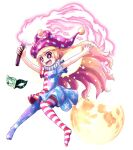 1girl american_flag_dress american_flag_legwear arms_up bangs black_eyes blonde_hair blush_stickers breasts closed_eyes clownpiece eyebrows_visible_through_hair fairy_wings hair_between_eyes hat highres jester_cap joyfull_(terrace) long_hair mask moon neck_ruff open_mouth pantyhose polka_dot short_sleeves simple_background small_breasts solo star-shaped_pupils star_(symbol) symbol-shaped_pupils torch touhou white_background wings