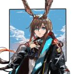 1girl amiya_(arknights) animal_ears arknights black_coat blue_background blue_eyes border brown_hair closed_mouth coat hair_between_eyes hand_on_own_chest jewelry kdm_(ke_dama) long_sleeves looking_at_viewer multiple_rings open_clothes open_coat rabbit_ears ring solo white_border